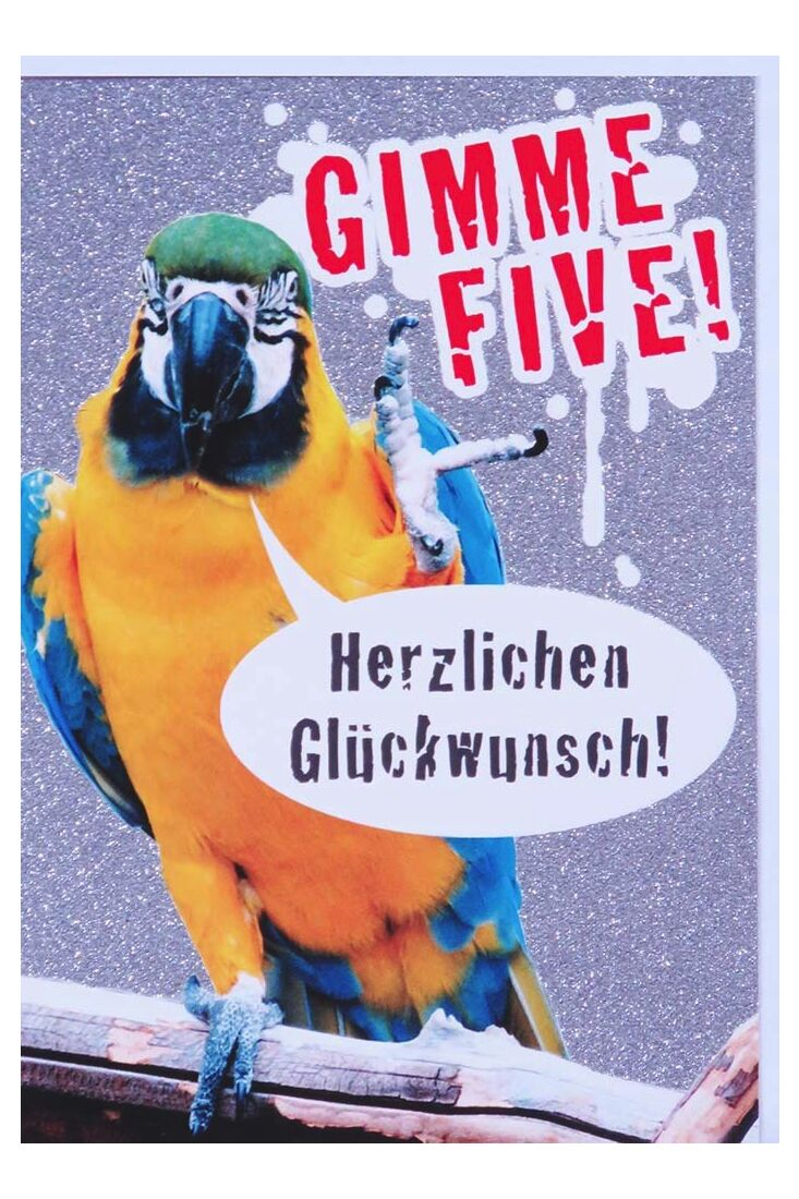 Grußkarten;Glückwunschkarten allgemein Glückwunschkarte Papagei lustig Gimme Five