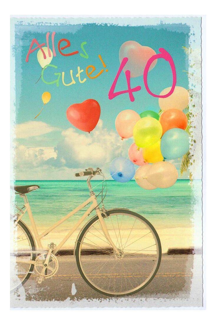 Geburtstagskarte 40 Jahre Fahrrad