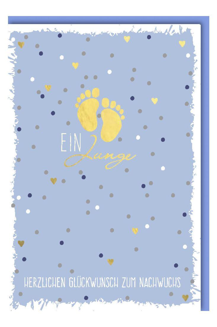Goldene Glückwunschkarte Geburt Junge Babyfüsse auf Blau