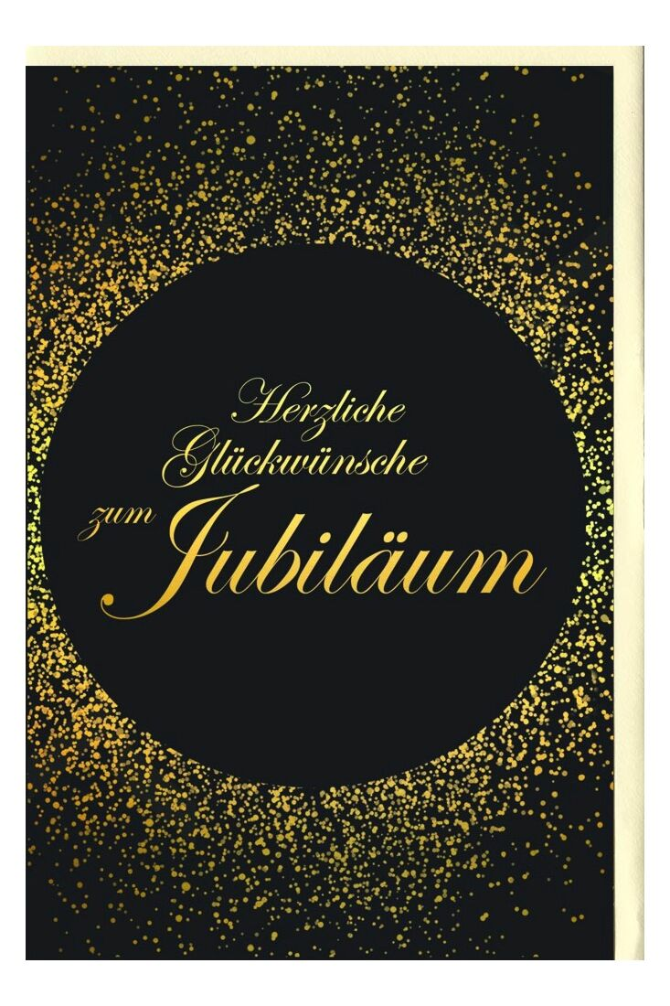 Jubiläumskarten Glückwunschkarte Jubiläum schwarz gold