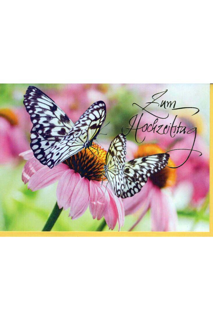 Glückwunschkarte zum Hochzeitstag. Schmetterlinge