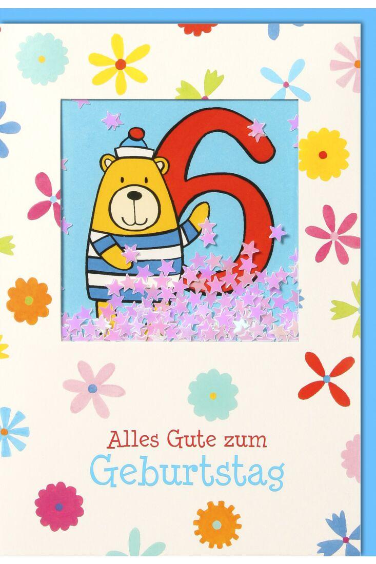 Geburtstagskarte für Kinder 6. Geburtstag - Bär mit blau-gestreiften Anzug