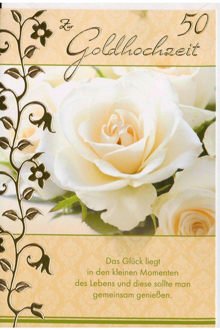 Glückwunschkarte zur Goldhochzeit: Das Glück liegt in den kleinen Momenten