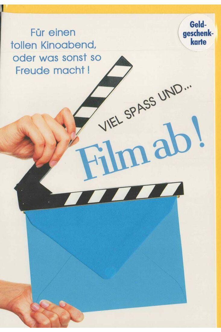 Grußkarte mit Geld-Umschlag Film ab