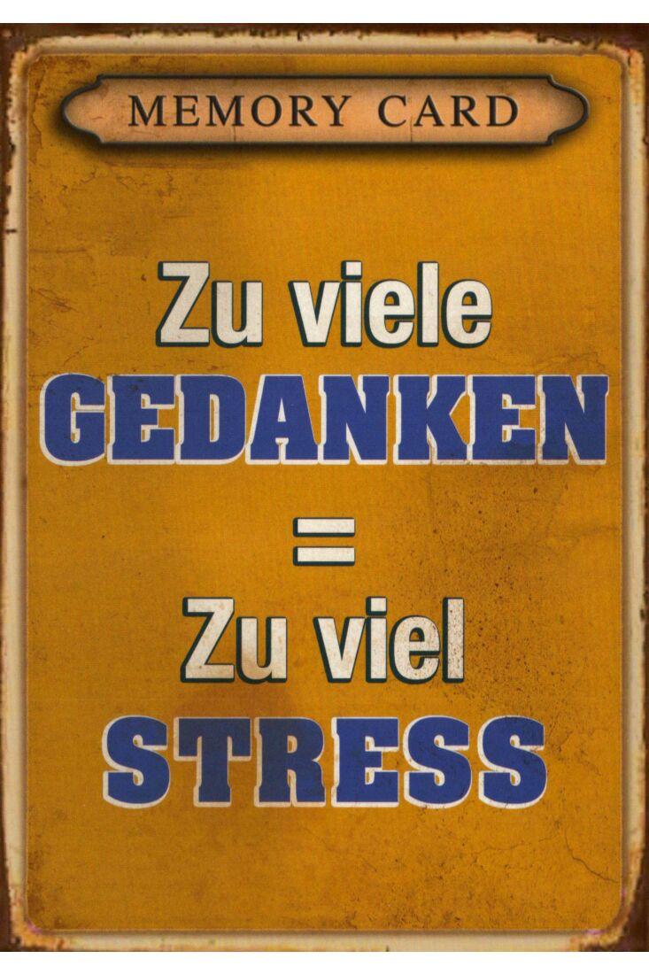 Postkarte Sprüche Zu viele Gedanken = Zu viel Stress