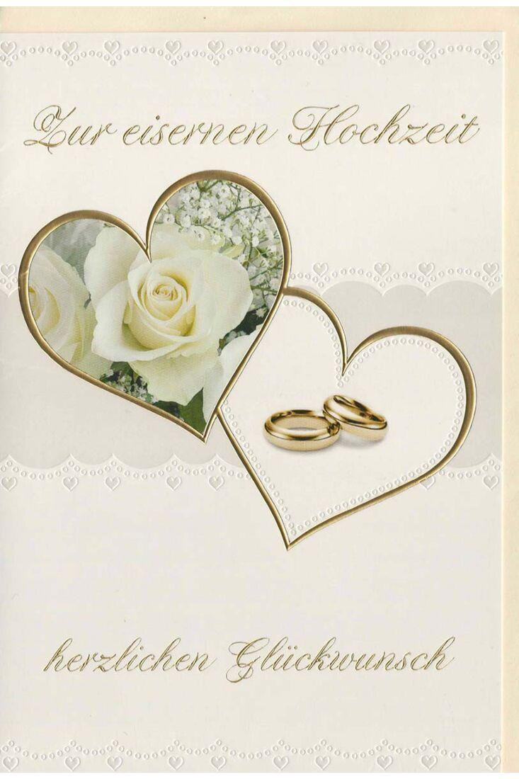 Glückwunschkarte eiserne Hochzeit Ringe und Rosen