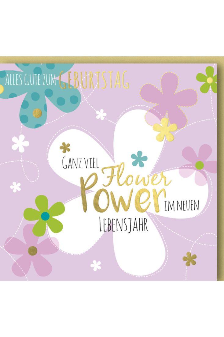 Geburtstagskarte quadratisch Flower Power