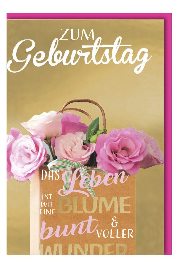 Geburtstagskarte premium Frauen Blumentasche