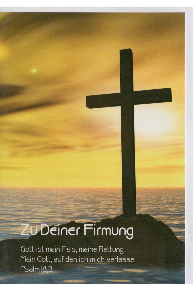 Schöne Firmungskarte Kreuz Sonnenaufgang