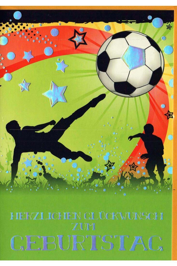Geburtstagskarte Mann: kickender Fußballer