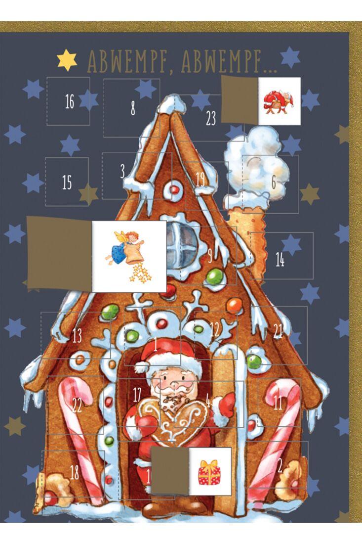 Adventskalender-Weihnachtskarte: Abwempf, Abwempf - Lebkuchenhaus