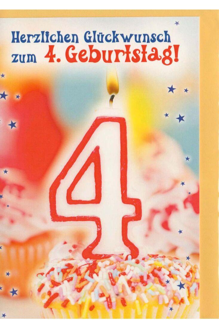 Geburtstagskarte 4. Geburtstag mit Kerze