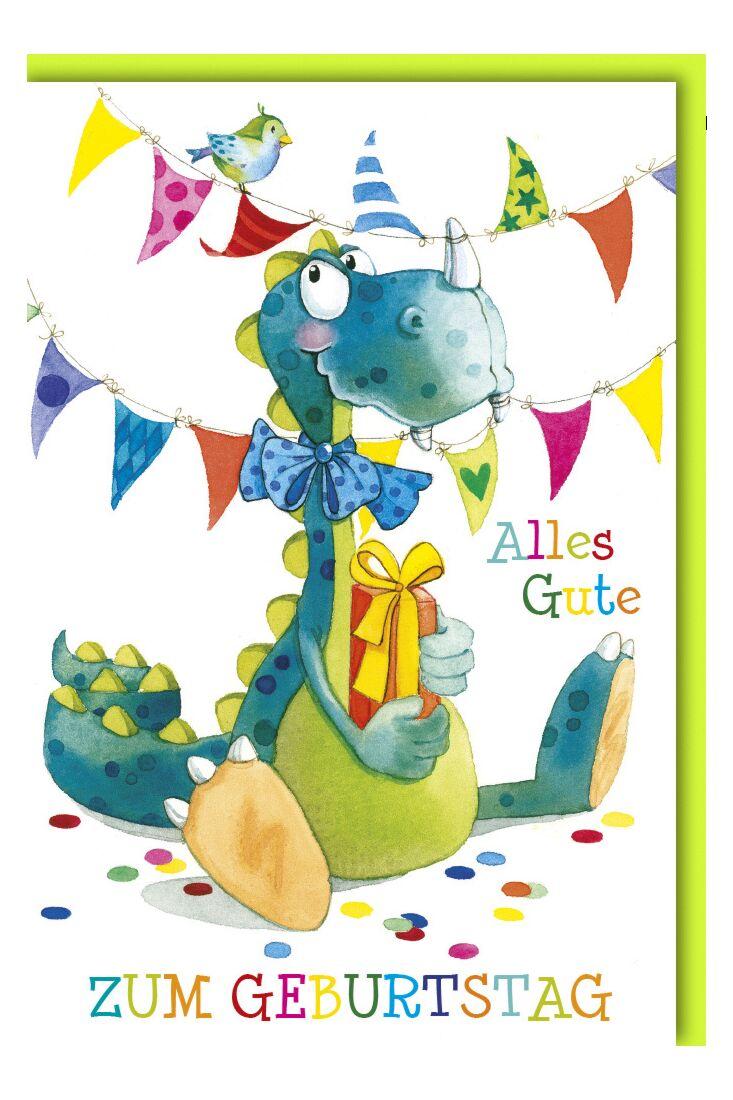 Geburtstagskarte für Kinder Dino mit Geschenk
