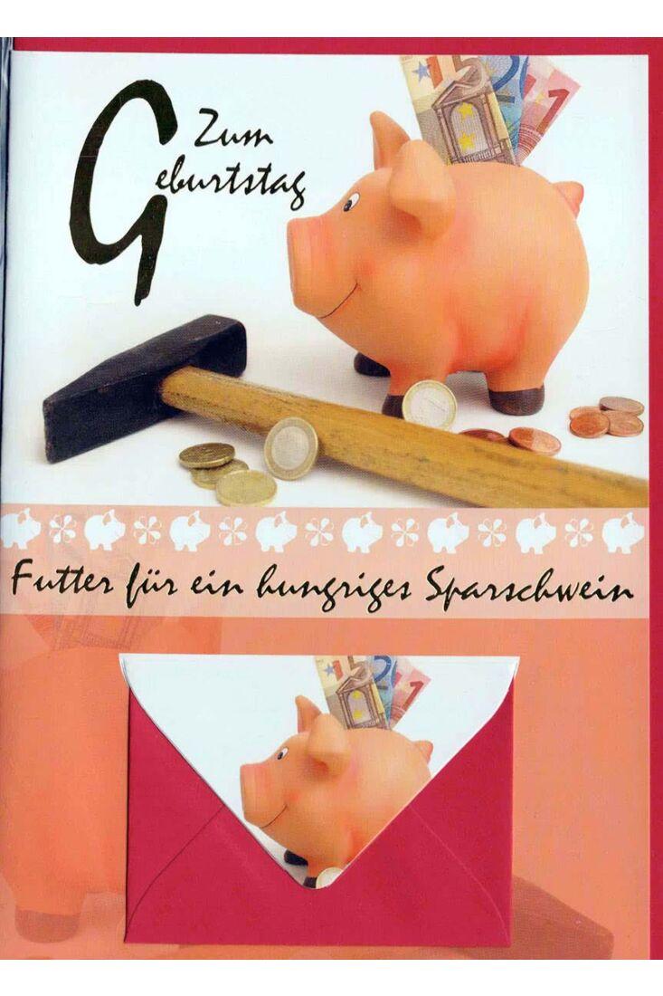 Geburtstagskarte mit Geldfach: Zum Geburtstag Sparschwein