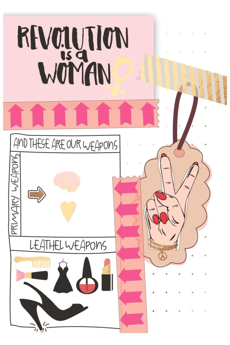 Postkarte Spruch Revolution is a Woman