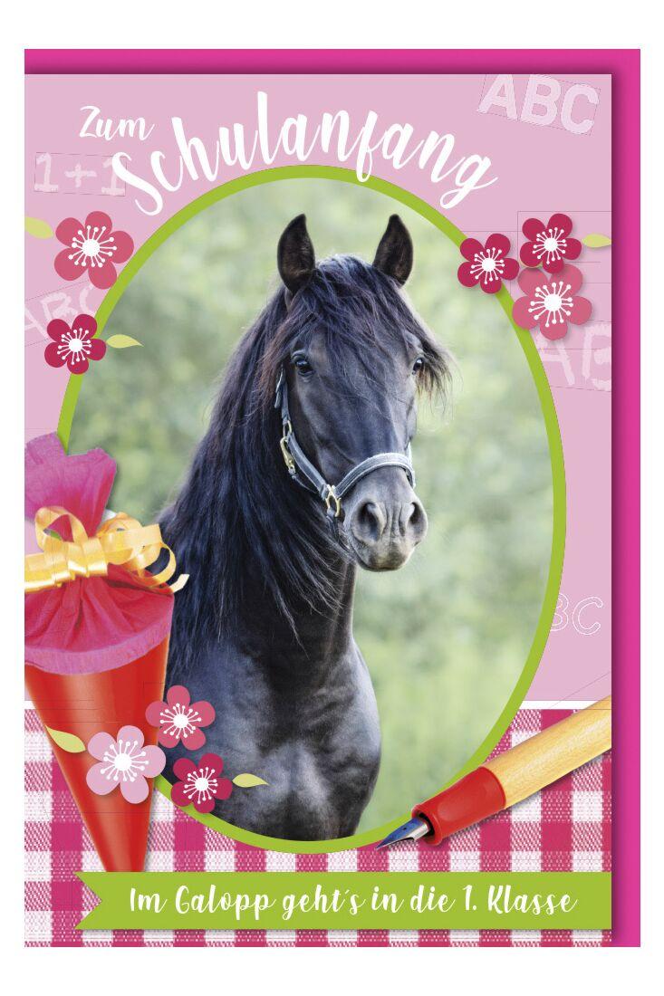 Glückwunschkarte zur Einschulung Mädchen Pferdemotiv
