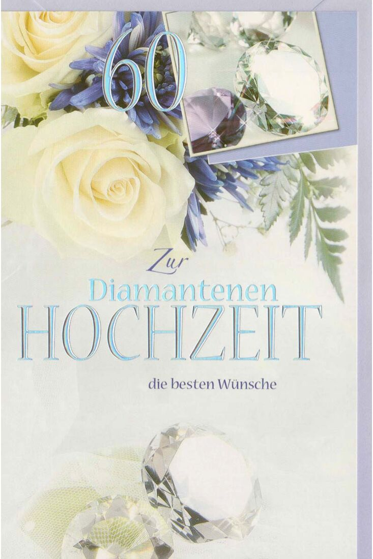 Glückwunschkarte Diamantene Hochzeit Blumen
