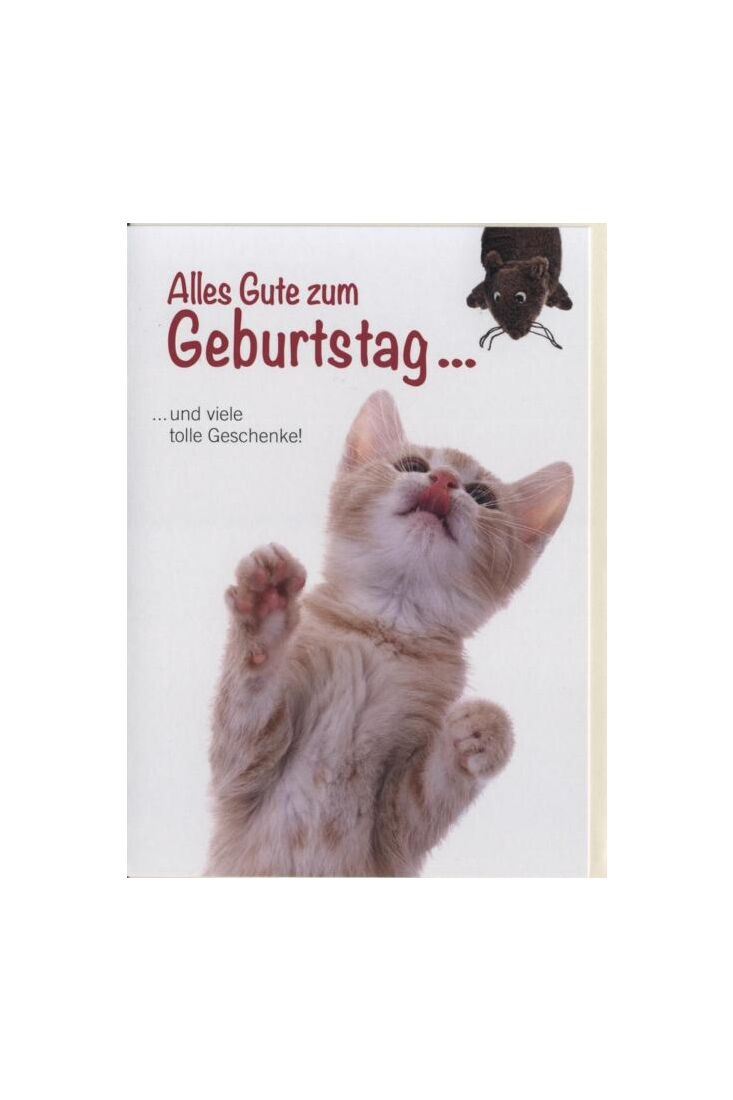 Geburtstagskarte Tiere, Katze: und viele tolle Geschenke