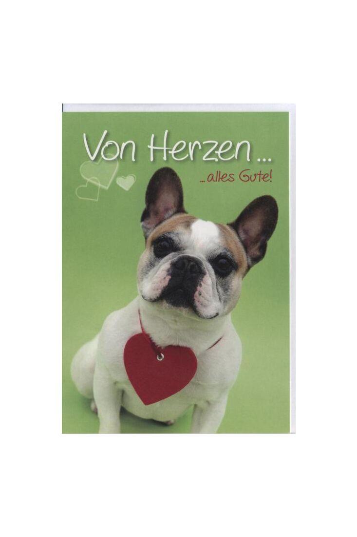 Geburtstagskarte Französische Bulldogge, Hund, Tiermotiv: Von Herzen alles Gute