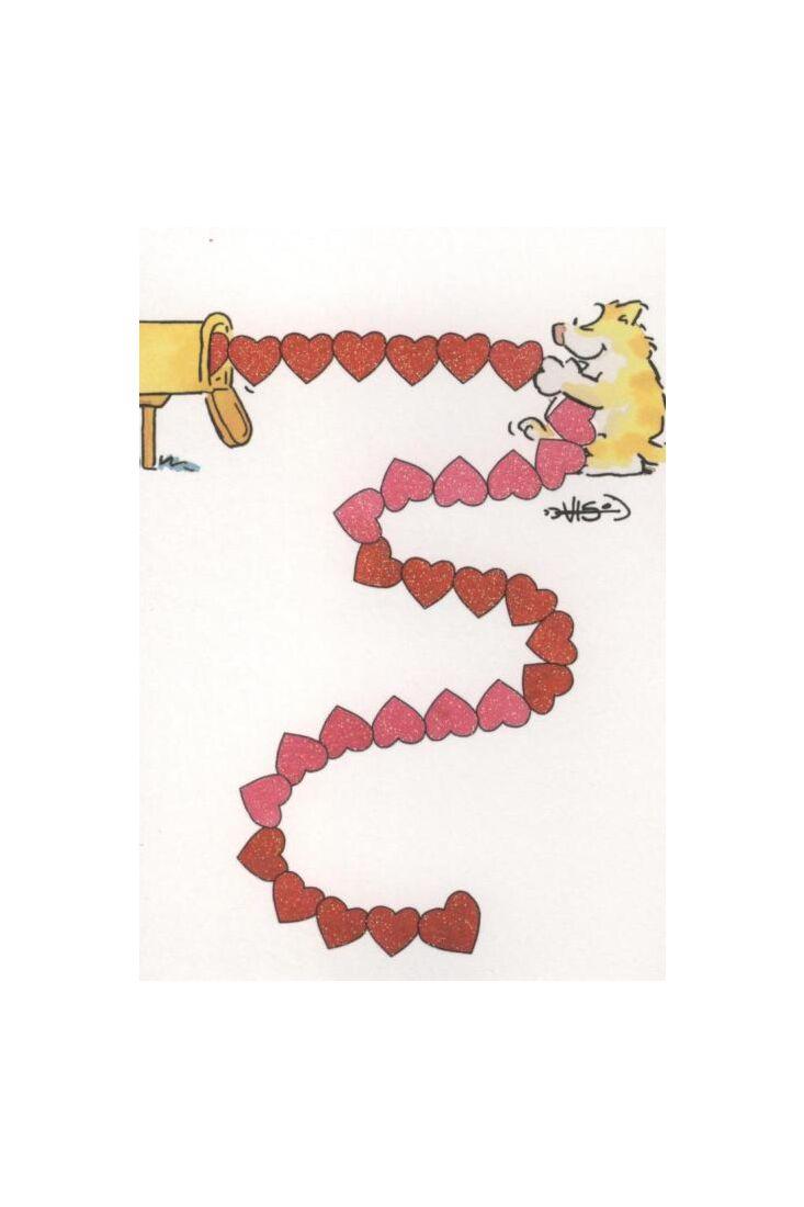 Jan Vis Cartoon Postkarte: Herzen im Briefkasten