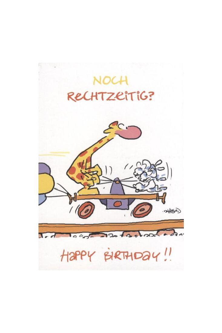 Jan Vis Cartoon Postkarte: Noch Rechtzeitig? Herzlichen Glückwunsch!