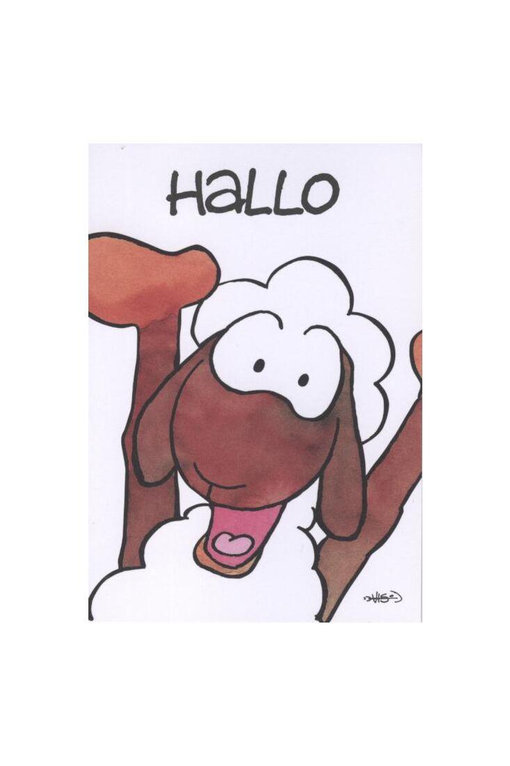Jan Vis Cartoon Postkarte: Hallo