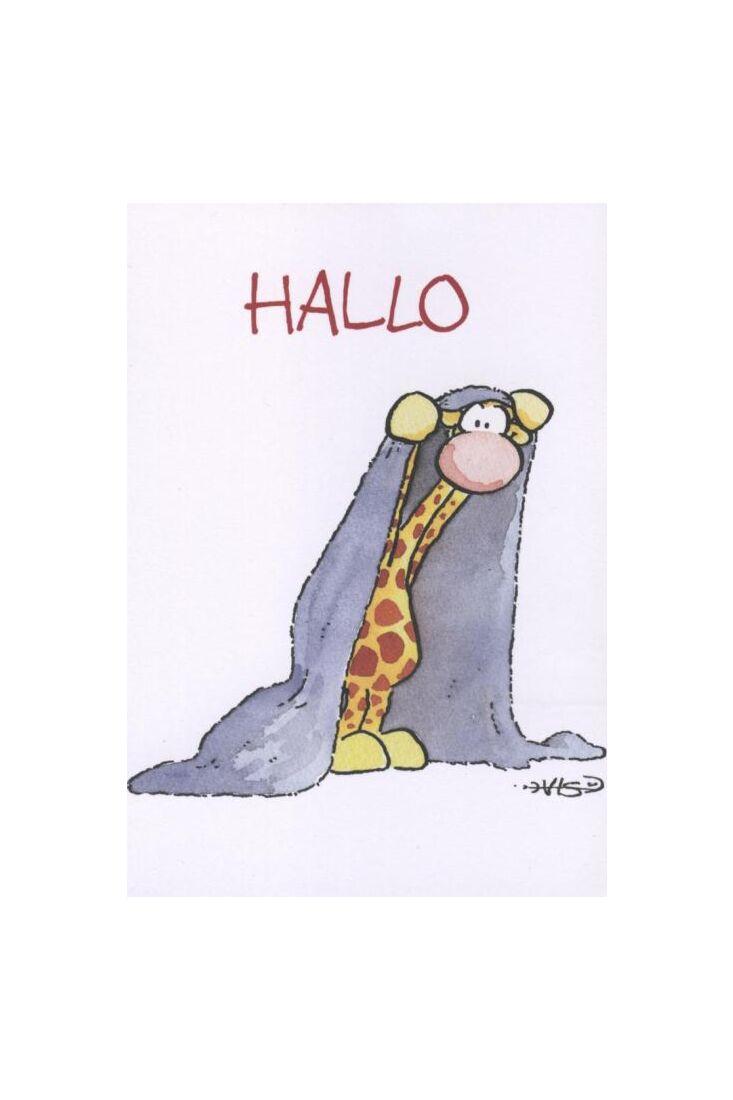 Jan Vis Cartoon Postkarte: Hallo - Bettdecke