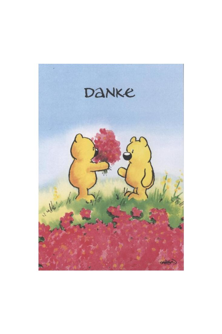 Jan Vis Cartoon Postkarte: Danke - Blumenstrauß