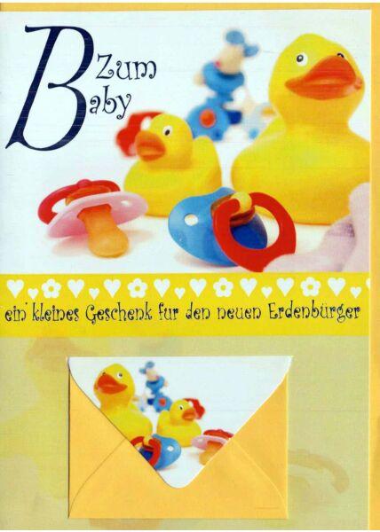 Glückwunschkarte Geburt mit Geldfach. Enten