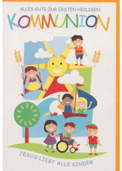 Karte Kommunion: Jesus liebt alle Kinder