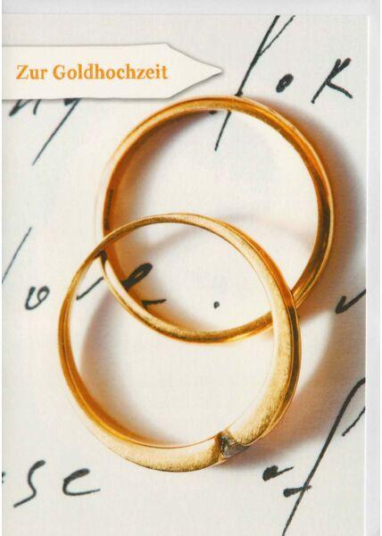 Karte Glückwünsche goldene Hochzeit Ringe