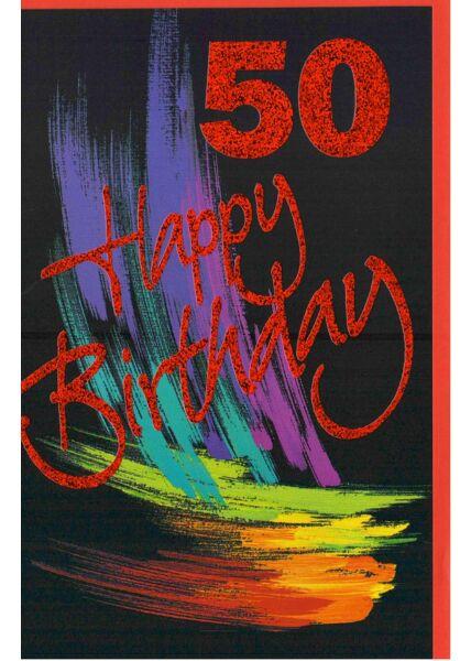 Glückwunschkarte 50 Happy Birthday schwarz
