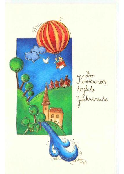 Karte Kommunion Premiumpapier Ballon