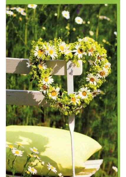 Grußkarte ohne Text Gänseblümchen Herz Stuhl Garten