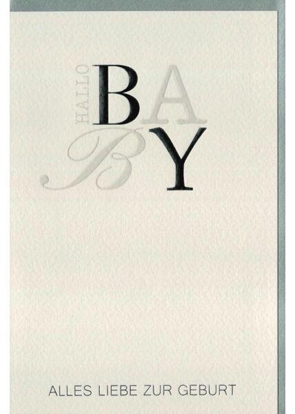Glückwunschkarte Baby Geburt Design silber