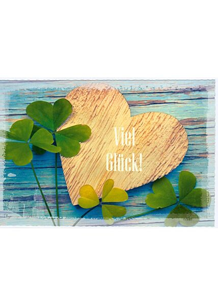 Karte Viel Glück Herz Holz
