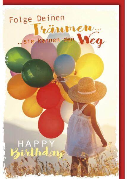 Geburtstagskarte Spruch Mädchen mit Sonnenhut und Luftballons