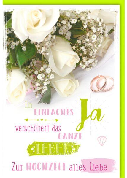 Hochzeitskarte Spruch Brautstrauß und Ringe