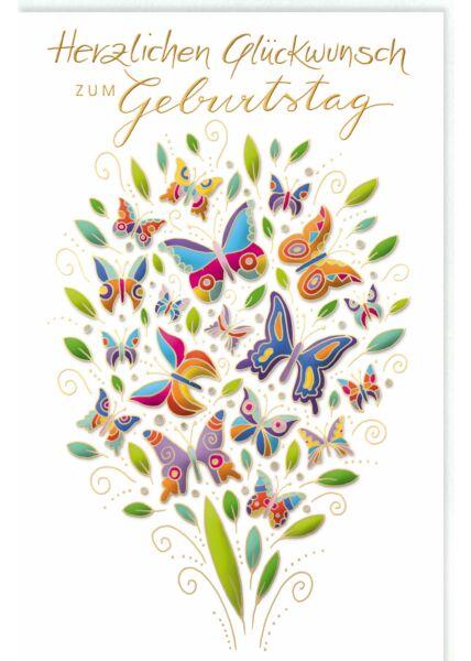 Glückwunschkarte Geburtstag Viele bunte Schmetterlinge