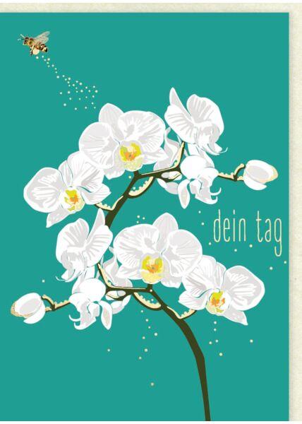 Geburtstagskarte Orchidee weiß - dein Tag
