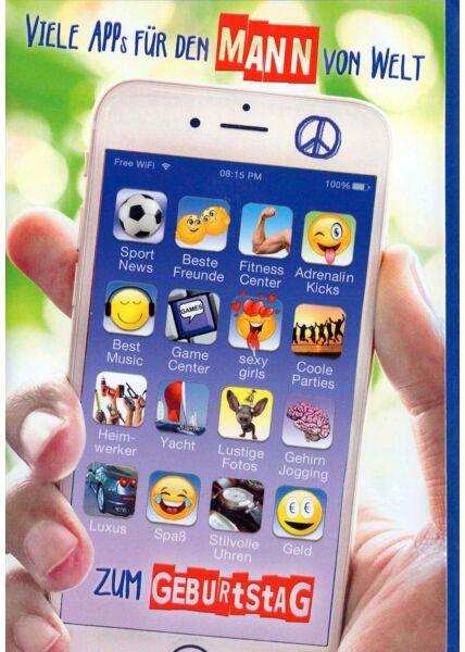 Geburtstagskarte Mann: Iphone Startbildschirm