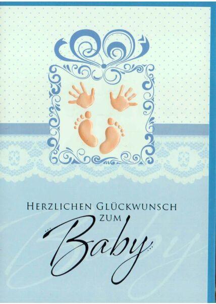 Glückwunschkarte Geburt Baby Junge Füße und Hände