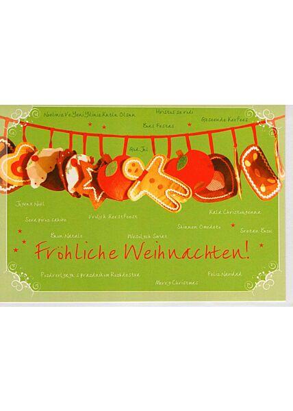 Weihnachtsgrußkarten Weihnachtskarte mit Weihnachtsplätzchen grün