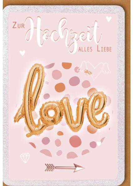"Hochzeitskarte premium ""Love""-Luftballon"
