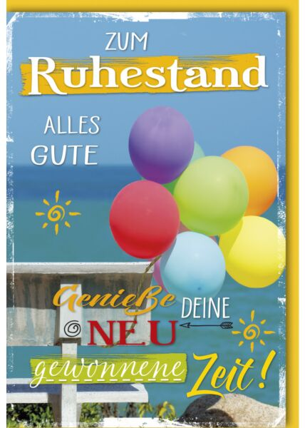 Ruhestandskarte - Bunte Luftballons