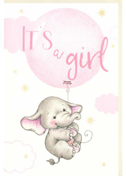 Karte Geburt Baby It´s a girl Naturpapier