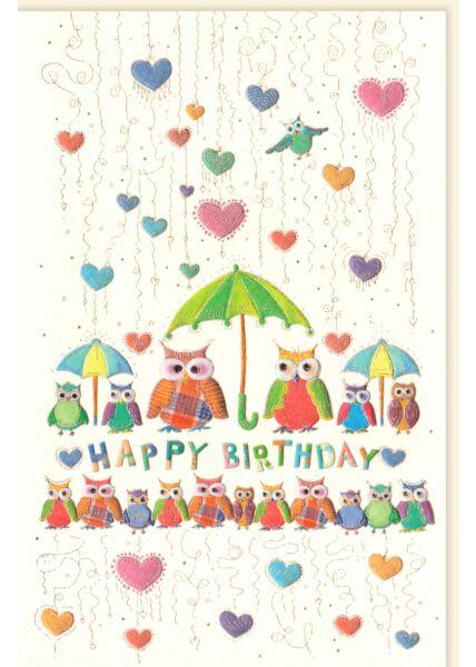 Glückwunschkarte Geburtstag Eulen premium Happy Birthday