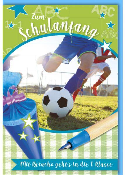Glückwunschkarte zur Einschulung Junge Fußballspieler