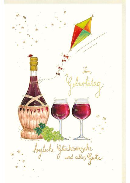 Glückwunschkarte Geburtstag Wein Naturkarton alles Gute