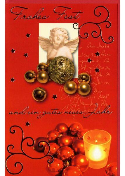 Weihnachtskarte rot Engel kleines Bild